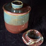 """This is a brown and blue """"Acorn Style"""" Fermentation Crock. 2013. SOLD."""